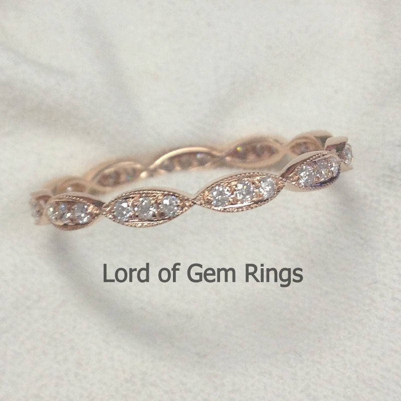 Pave Diamonds Wedding Band  Full Eternity Anniversary Ring 14K Rose Gold - SI/H Diamonds Art Deco Milgrain - Lord of Gem Rings - 1