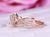 Round FB Moissanite Engagement Ring Diamond Infinite Love Shank 14K Rose Gold 7.5mm