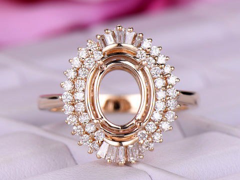 Oval 7x9mm Baguette and Round Diamond Double Halos Semi Mount Ring 14K Rose Gold Setting