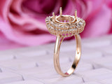 Baguette and Round Diamond Double Halos Semi Mount Ring 14K Yellow Gold Setting Oval 7x9mm