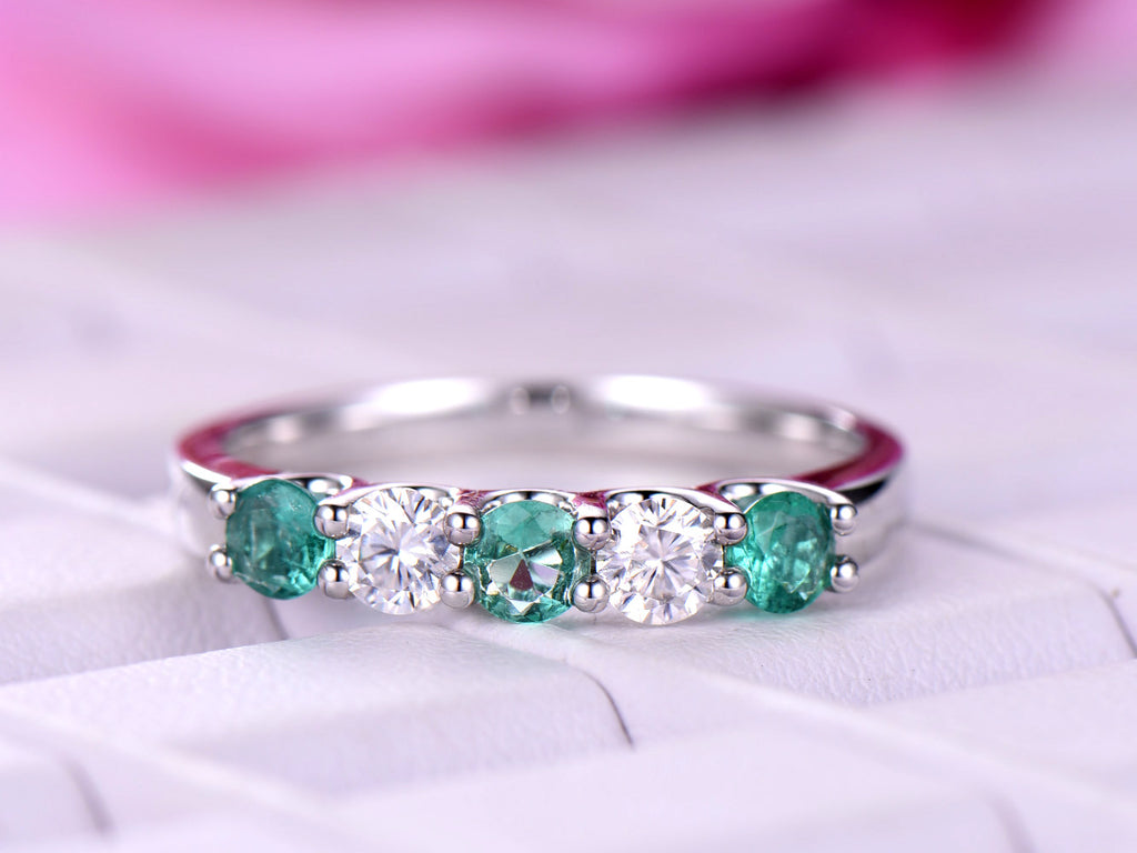Emerald / Moissanite Wedding Band Half Eternity Anniversary Ring 14K White Gold 3.5mm