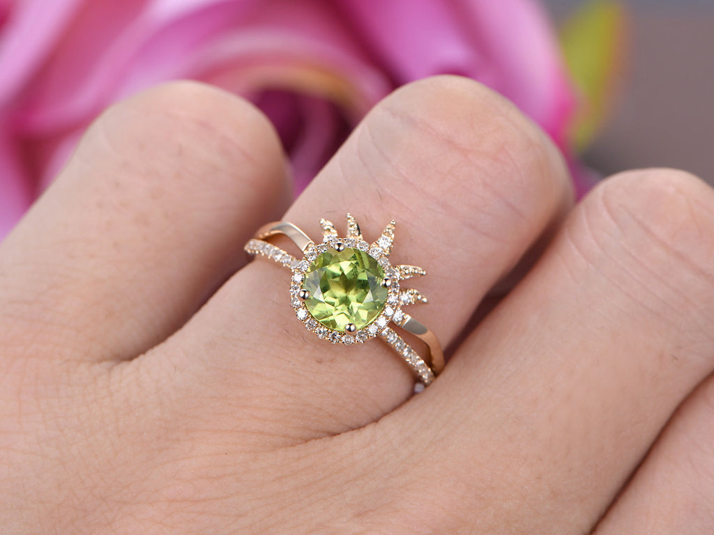 $749 Round Peridot Engagement Ring Sets Diamond Tiara Matching Band ...