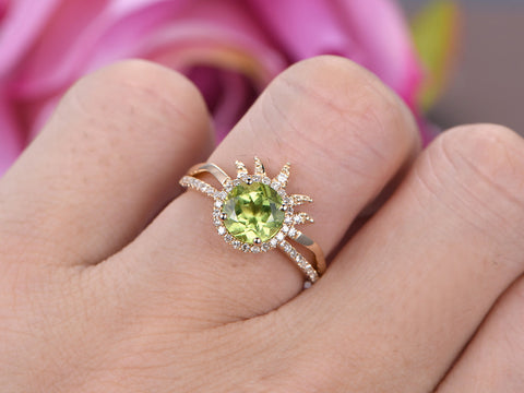 Round Peridot Engagement Ring Sets Diamond  Tiara Matching Band 14K Yellow Gold 7mm