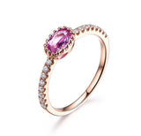 Oval Pink Sapphire Engagement Ring Pave Diamond Wedding 14K Rose Gold 4x6mm - Lord of Gem Rings - 4