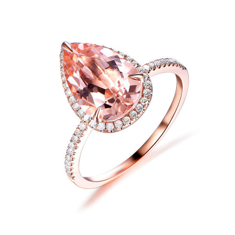 3ct Elongated Pear Morganite Engagement Ring Accent Pave Diamond 14K Rose Gold 8x12mm