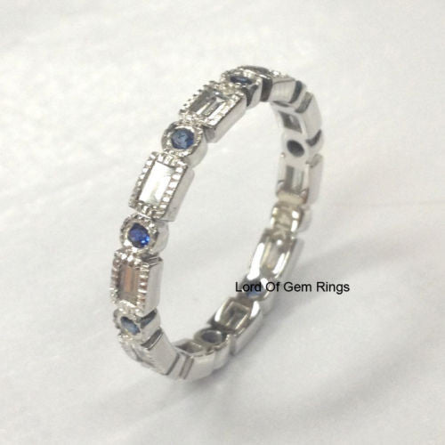 Blue Sapphire Baguette Diamond Wedding Band Eternity Anniversary Ring 14K White Gold - Lord of Gem Rings - 1