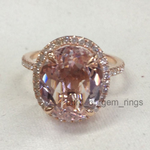 Reserved for pat,rush delivery, Oval Morganite Engagement Ring Pave Diamond Wedding - Lord of Gem Rings - 1