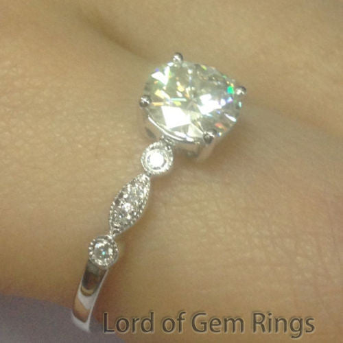 Round Moissanite Engagement Ring Pave Diamond Wedding 14K White Gold 6.5mm Art Deco - Lord of Gem Rings - 1
