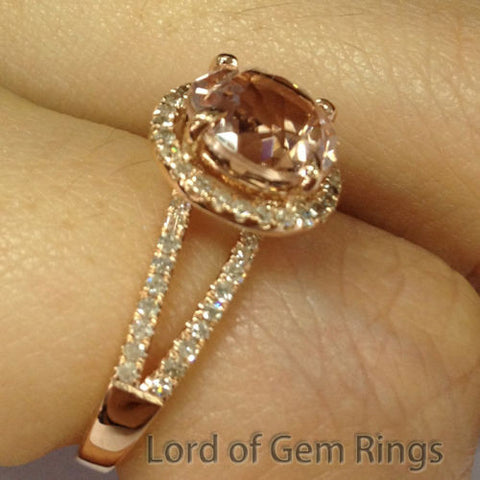 Ready to Ship - Round Morganite Engagement Ring Pave Diamond Wedding 14K Yellow Gold 10mm Split Shank - Lord of Gem Rings - 1