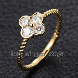 Moissanite Engagement Ring 14K Yellow Gold 3mm Round Four Leaved Clover Floral - Lord of Gem Rings - 2