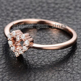 Round Moissanite Engagement Heart Shaped 14K Rose Gold 1.5mm - Lord of Gem Rings - 4