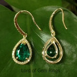 6x8mm Pear Cut Green Emerald Hook Dangle Earrings,14K Yellow gold with diamond - Lord of Gem Rings - 2