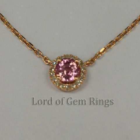 4.5mm Round Pink Sapphire Pendant with Necklace length 22.8cm in 18K Rose Gold - Lord of Gem Rings - 1