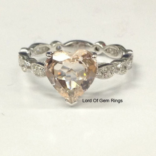 Heart Morganite Engagement Ring Pave Diamond Wedding 14K White Gold 8mm Eternity Art Deco - Lord of Gem Rings - 1