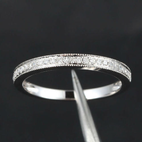 Ready to Ship - Pave Diamond Wedding Band Half Eternity Anniversary Ring 14K White Gold - Milgrain - Lord of Gem Rings - 1