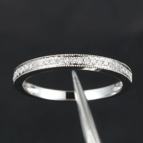 Pave Diamond Wedding Band Half Eternity Anniversary Ring 14K White Gold - Milgrain - Lord of Gem Rings - 1