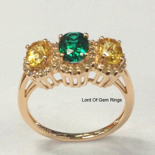 Oval Emerald Citrine Engagement Ring Pave  Diamond Wedding 14K Rose Gold,5x7mm, 4x6mm,Three Stone - Lord of Gem Rings - 1