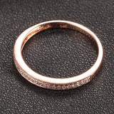 Pave Diamond Wedding Band Half Eternity Anniversary Ring 14K Rose Gold - Milgrain - Lord of Gem Rings - 4