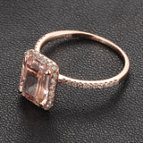 Ready to Ship -5x7mm Emerald Cut Morganite &  Pave Diamond Halo Engagement Ring 14K Rose Gold: 14KR-EmMorg-57 - Lord of Gem Rings - 4