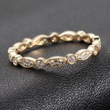 Pave Diamond Wedding Band Eternity Anniversary Ring 14K Yellow Gold - SI/H Diamond, Milgrain - Lord of Gem Rings - 2
