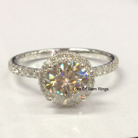 Round Moissanite Engagement Ring Pave Diamond Wedding 14K White Gold 7mm - Lord of Gem Rings - 1