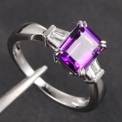 Emerald Cut Amethyst Baguette Diamond Wedding Ring 14K White Gold 6x8mm Claw Prongs - Lord of Gem Rings - 1