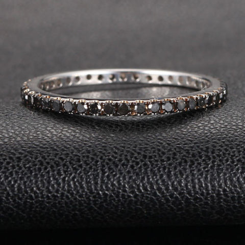 Pave Black Diamond Wedding Band Eternity Anniversary Ring 14K White Gold - Lord of Gem Rings - 1