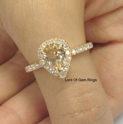 Pear Morganite Engagement Ring Pave Moissanite Wedding 14K Rose Gold 6x9mm - Lord of Gem Rings - 1