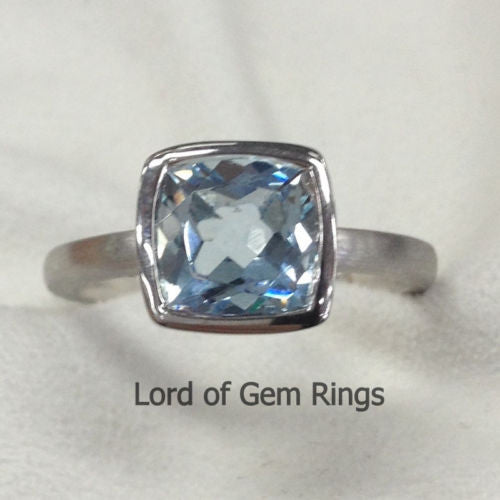 Reserved for spideyed24, Custom 14K Rose Gold Bezel Semi Mount for Square - Lord of Gem Rings - 1