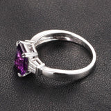 Emerald Cut Amethyst Baguette Diamond Wedding Ring 14K White Gold 6x8mm Claw Prongs - Lord of Gem Rings - 2
