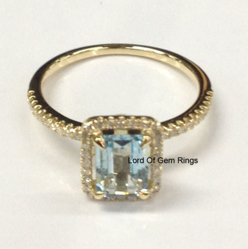 Emerald Cut Aquamarine Engagement Ring Pave Diamond Wedding 14K Yellow Gold 5x7mm - Lord of Gem Rings - 1
