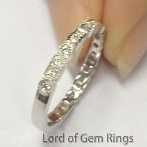 Full Cut Diamond Wedding Band Half Eternity Anniversary Ring 14K White Gold Milgrain Art Deco  Antique - Lord of Gem Rings - 1