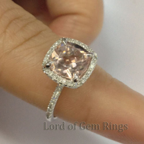 Ready to Ship - Cushion Morganite Engagement Ring Pave VS Diamond Wedding 14K White Gold 8mm - Lord of Gem Rings - 1