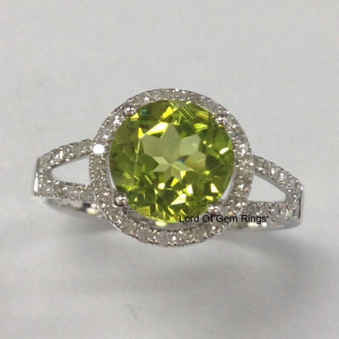 Round Peridot Engagement Ring Pave Diamond Wedding 14K White Gold 8mm Spilit Shank - Lord of Gem Rings - 1