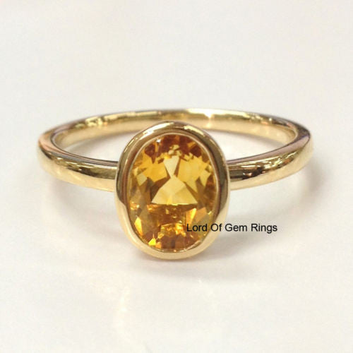 Oval Citrine Engagement Ring 14K Yellow Gold 6x8mm  Bezel Solitaire - Lord of Gem Rings - 1