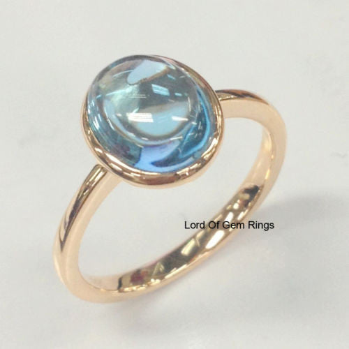 Oval Swiss Blue Topaz Engagement Ring 14K Rose Gold Solitaire 3.15ct - Lord of Gem Rings - 1