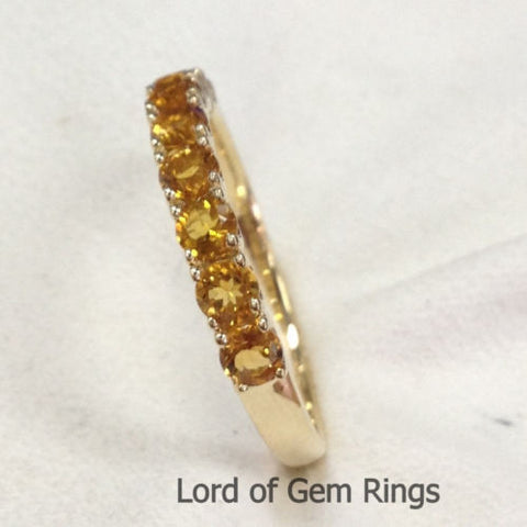 Citrine Wedding Band Half Eternity Anniversary Ring 14K Yellow Gold - Lord of Gem Rings - 1