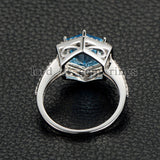 Hexagon Blue Topaz Engagement Ring Diamond Pave Diamond Wedding 14K White Gold 9x9mm - Lord of Gem Rings - 3