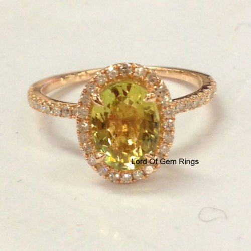 Oval Peridot Engagement Ring Pave Diamond Wedding 14K Rose Gold 6x8mm - Lord of Gem Rings - 1