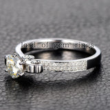 Round Moissanite Engagement Ring Pave Diamond Wedding 14K White Gold 5mm - Lord of Gem Rings - 3