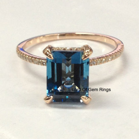 $619 Emerald Cut London Blue Topaz Engagement Ring Pave Diamond