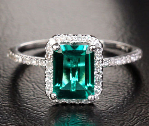 Emerald Shape Emerald Engagement Ring Pave Diamond Wedding 10K White Gold 6x8mm - Lord of Gem Rings - 1