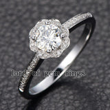 Reserved for jpix52 Round Moissanite Engagement Ring 1.5mm Moissanite Halo - Lord of Gem Rings - 2