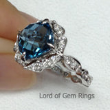 Cushion London Blue Topaz Engagement Ring Pave Diamond Wedding 14K White Gold 8x8mm Fine Ring Vintage Floral Design - Lord of Gem Rings - 2
