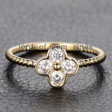 Moissanite Engagement Ring 14K Yellow Gold 3mm Round Four Leaved Clover Floral - Lord of Gem Rings - 1