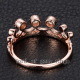 Moissanite Engagement Ring 14K Rose Gold 3mm Round Royal Crown - Lord of Gem Rings - 4
