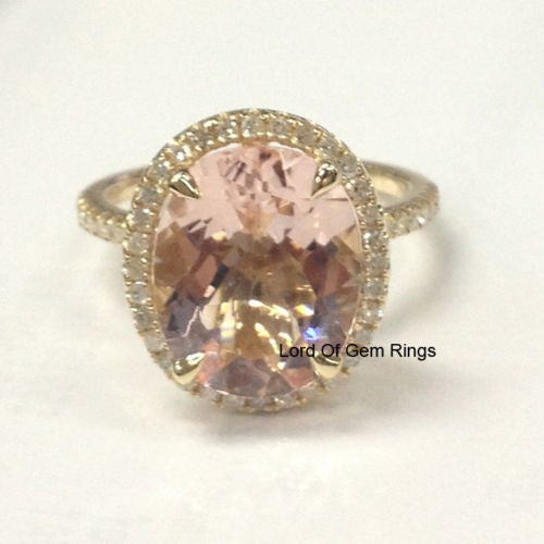Morganite Engagement Promise Ring .4ct Diamond,Oval Cut 10x12mm,14K Yellow Gold - Lord of Gem Rings - 1