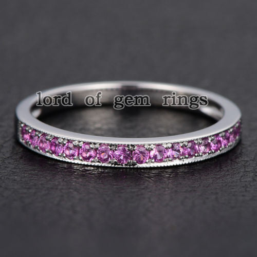 Pave Pink Sapphire Wedding Band Half Eternity Anniversary Ring 14K White Gold - Lord of Gem Rings - 1