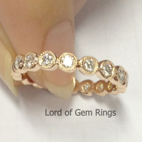 Brilliant Diamond Wedding Band Eternity Anniversary Ring 14K Rose Gold Milgrain Bezel Set - Lord of Gem Rings - 1