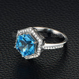 Hexagon Blue Topaz Engagement Ring Diamond Pave Diamond Wedding 14K White Gold 9x9mm - Lord of Gem Rings - 4